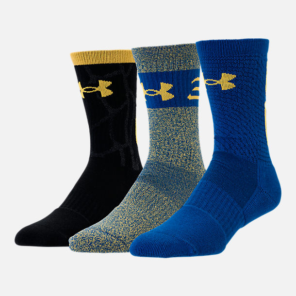 Back view of Men's Under Armour SC30 Phenom 3-Pack Crew Socks in Royal/Taxi
