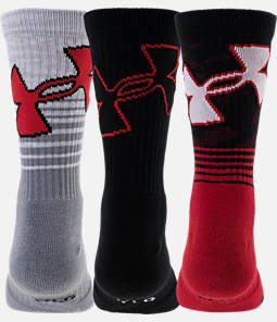 Boys' Under Armour Phenom 3-Pack Crew Socks - Youth Large Product Image