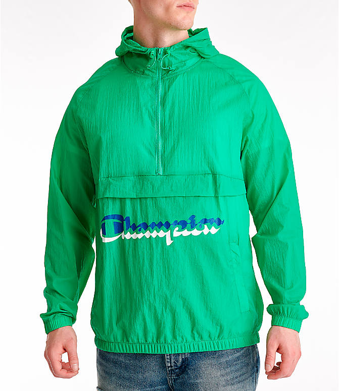 Front view of Men's Champion Manorak Windbreaker Jacket in Green Myth
