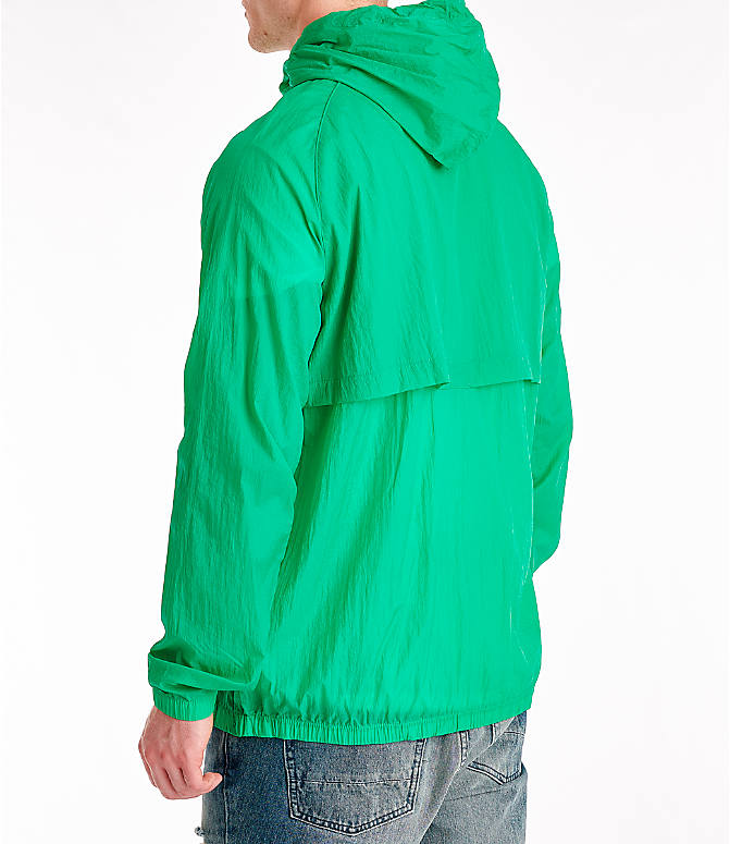 Back Left view of Men's Champion Manorak Windbreaker Jacket in Green Myth