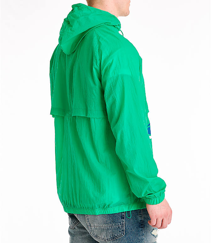 Back Right view of Men's Champion Manorak Windbreaker Jacket in Green Myth