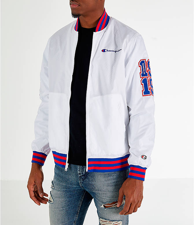 Front view of Men's Champion Satin Baseball Jacket in White