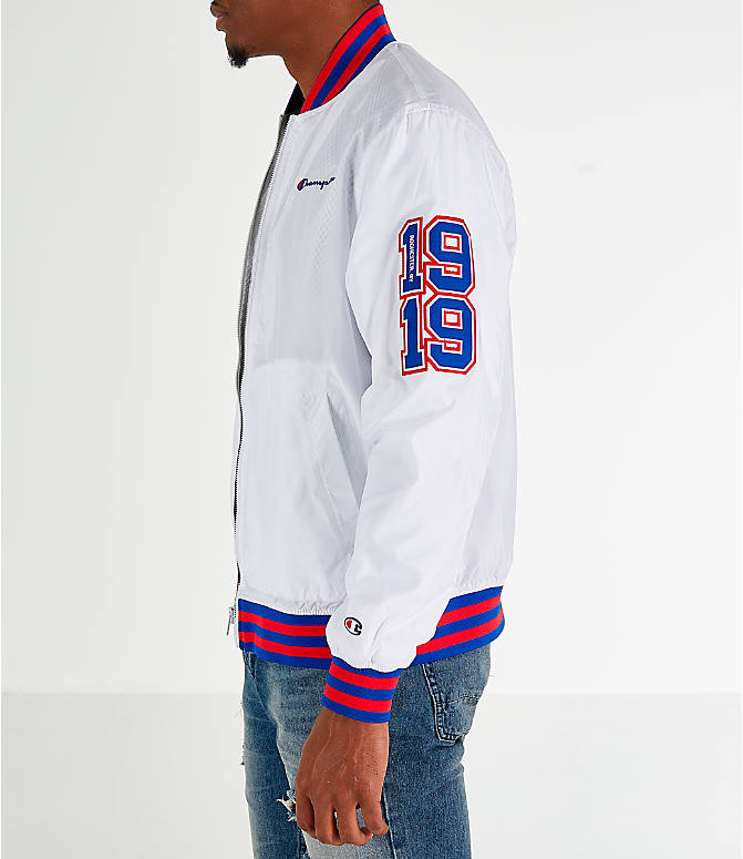 Front Three Quarter view of Men's Champion Satin Baseball Jacket in White