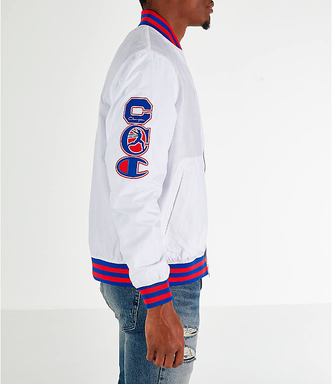 Back Right view of Men's Champion Satin Baseball Jacket in White
