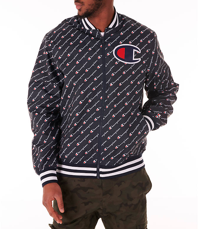 Front view of Men's Champion Satin Baseball Jacket in Navy