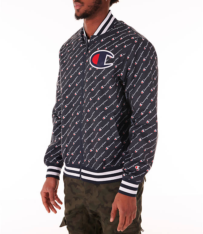 Front Three Quarter view of Men's Champion Satin Baseball Jacket in Navy