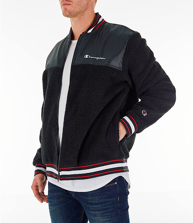 Front Three Quarter view of Men's Champion Sherpa Baseball Jacket in Black