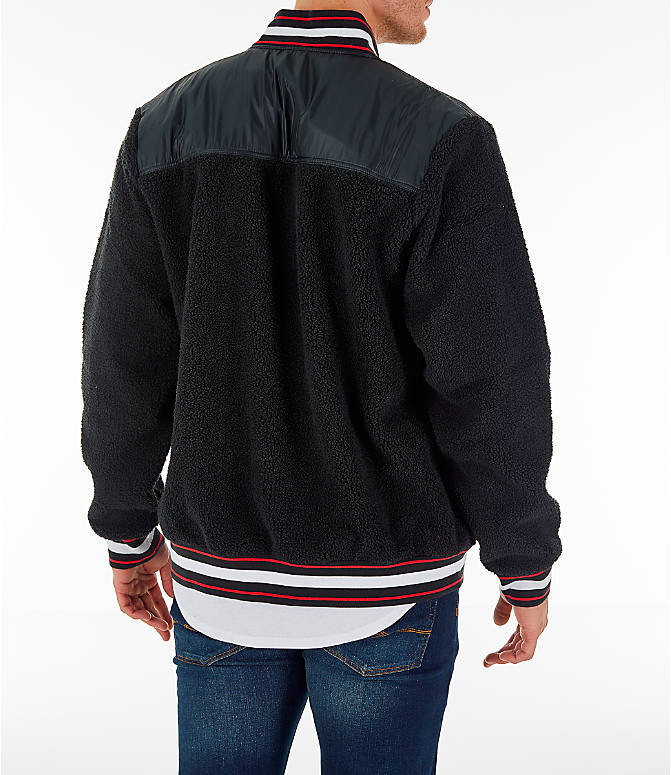 Back Right view of Men's Champion Sherpa Baseball Jacket in Black