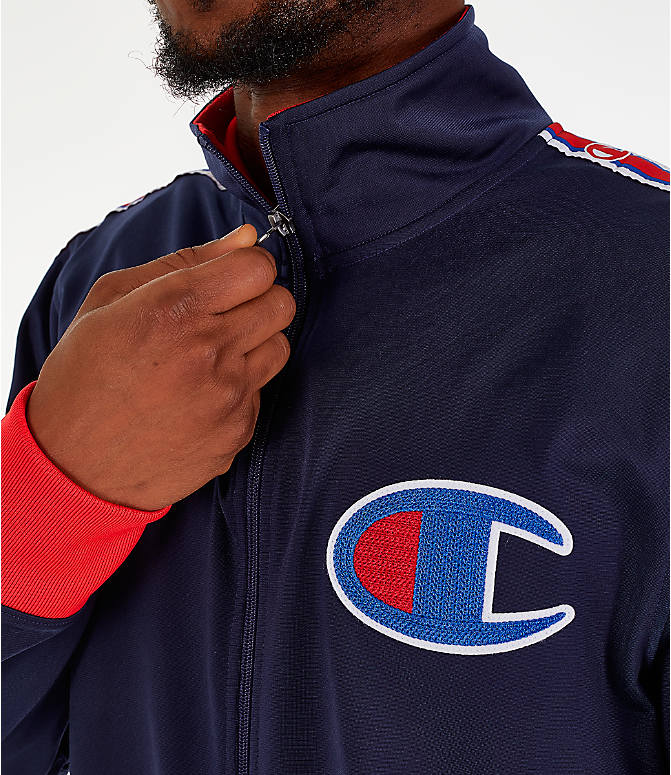 Detail 1 view of Men's Champion Track Jacket in Indigo/Scarlet