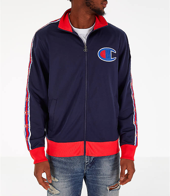 Front Three Quarter view of Men's Champion Track Jacket in Indigo/Scarlet