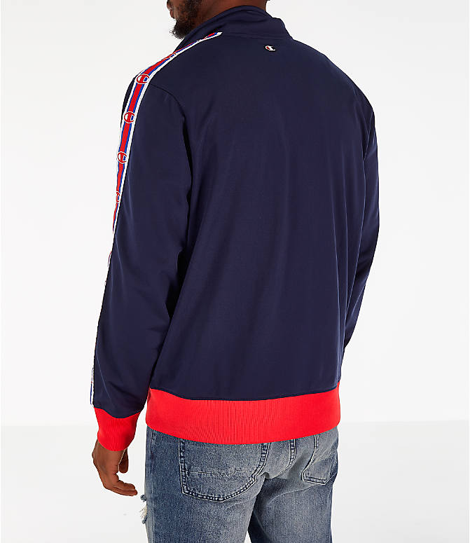 Back Left view of Men's Champion Track Jacket in Indigo/Scarlet