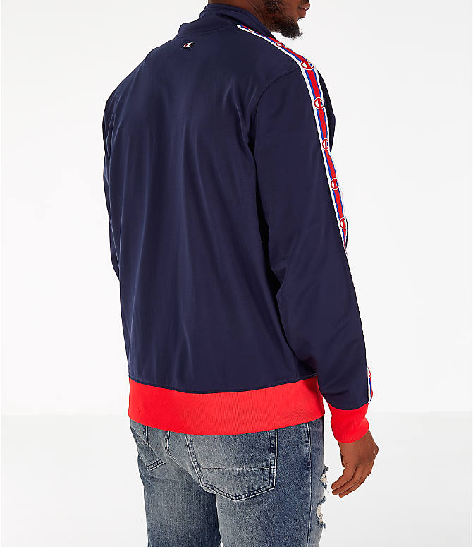 Back Right view of Men's Champion Track Jacket in Indigo/Scarlet