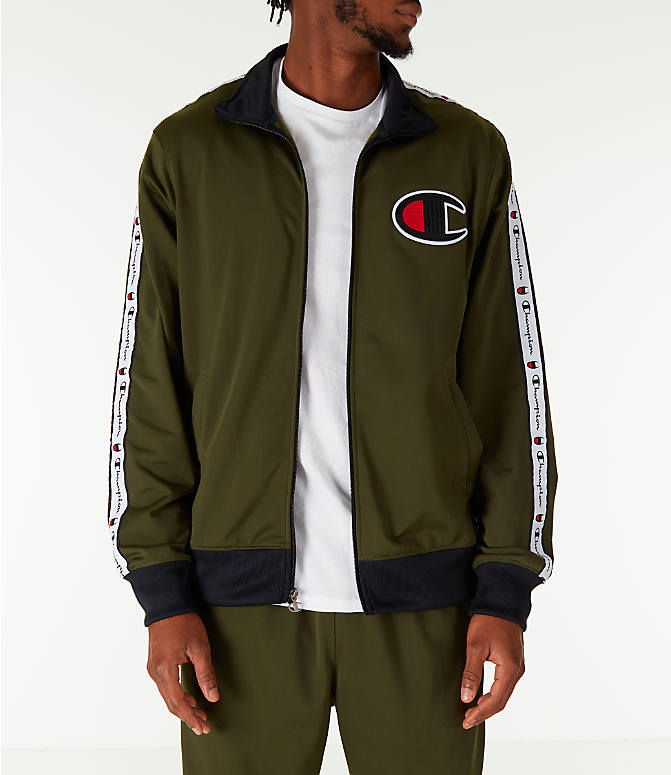 Front view of Men's Champion Side Tape Track Jacket