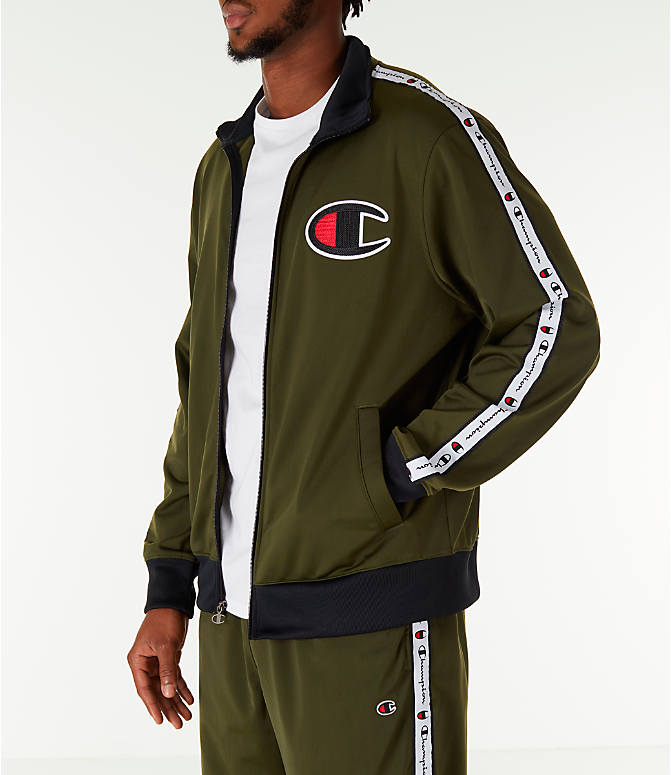 Front Three Quarter view of Men's Champion Side Tape Track Jacket