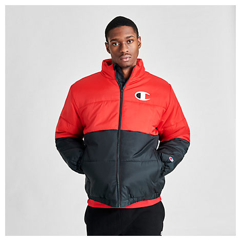 Champion Jackets CHAMPION MEN'S STADIUM PUFFER JACKET IN RED SIZE 2X-LARGE 100% POLYESTER/FIBER