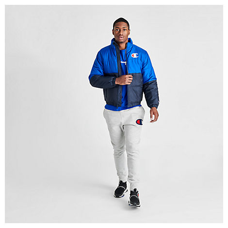 Champion Jackets CHAMPION MEN'S STADIUM PUFFER JACKET IN BLUE SIZE 2X-LARGE 100% POLYESTER/FIBER