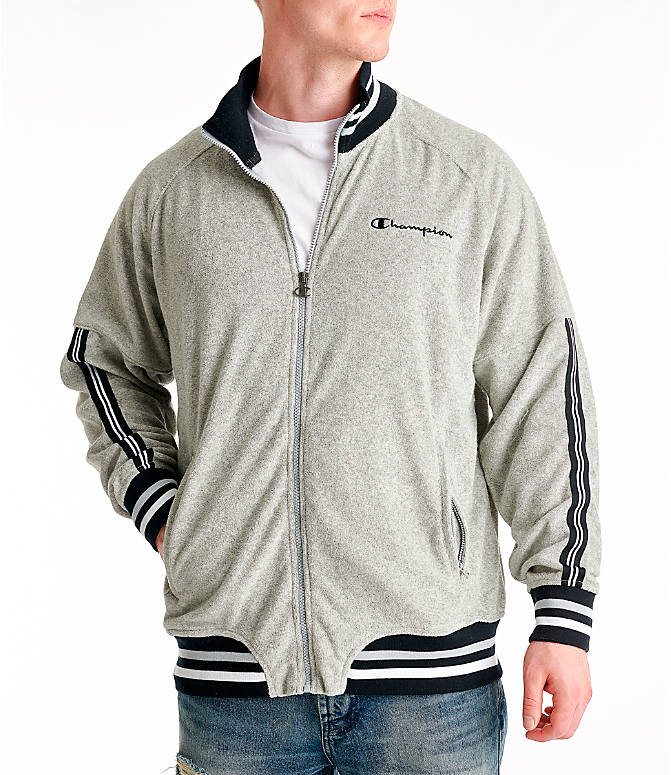 Front view of Men's Champion Terry Warm-Up Jacket in Oxford Grey