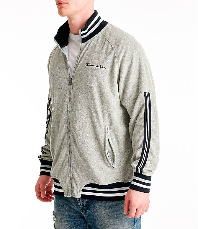 Front Three Quarter view of Men's Champion Terry Warm-Up Jacket in Oxford Grey