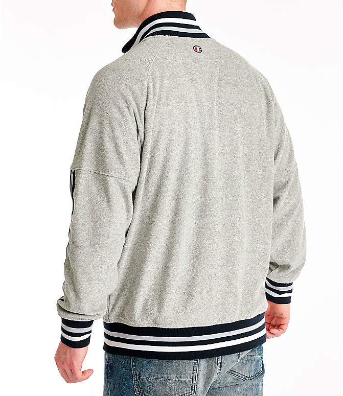 Back Left view of Men's Champion Terry Warm-Up Jacket in Oxford Grey