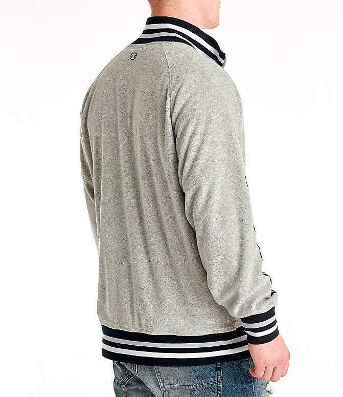 Back Right view of Men's Champion Terry Warm-Up Jacket in Oxford Grey
