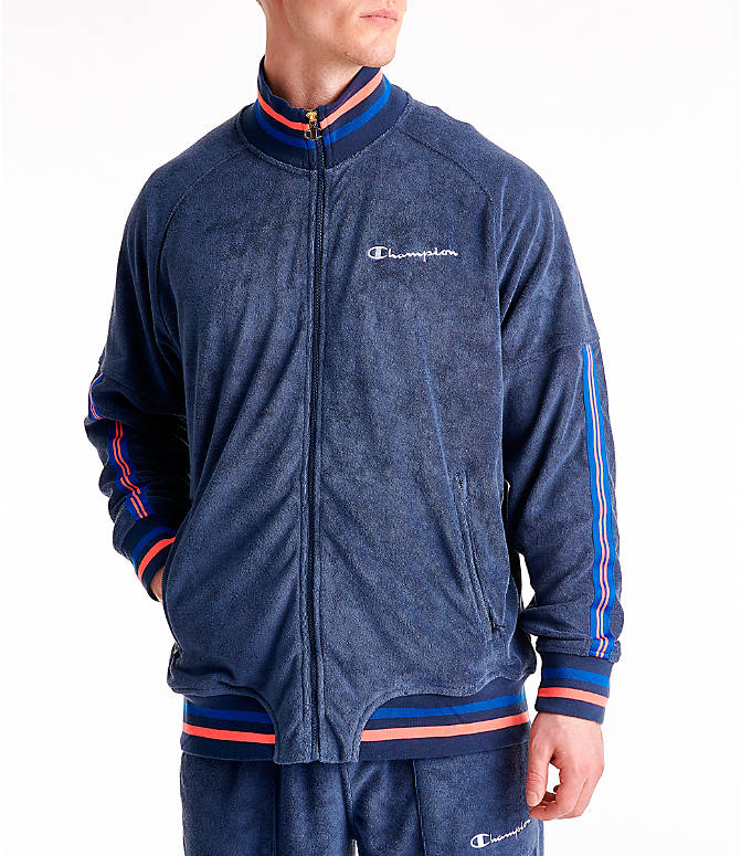 Front view of Men's Champion Terry Warm-Up Jacket in Imperial Indigo