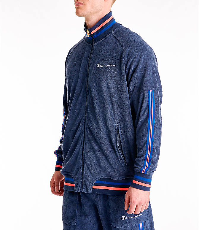 Front Three Quarter view of Men's Champion Terry Warm-Up Jacket in Imperial Indigo