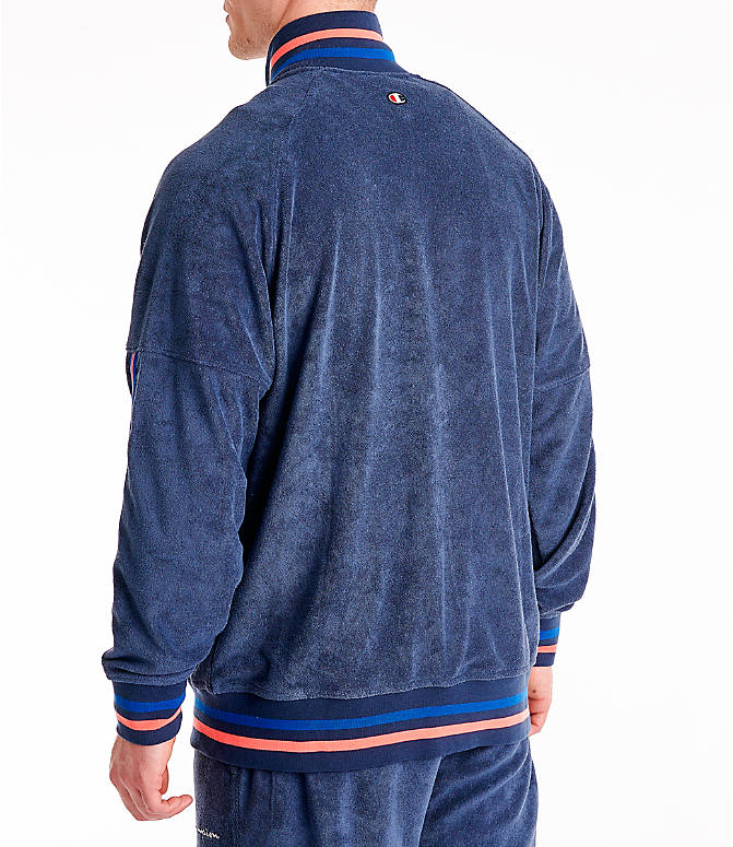 Back Left view of Men's Champion Terry Warm-Up Jacket in Imperial Indigo