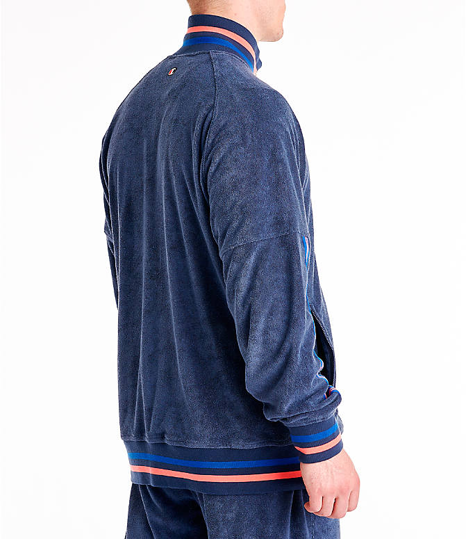 Back Right view of Men's Champion Terry Warm-Up Jacket in Imperial Indigo