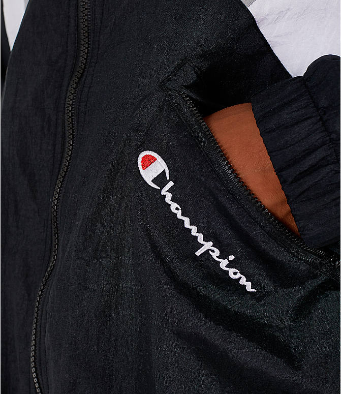 Detail 2 view of Men's Champion Nylon Colorblock Track Jacket in Black