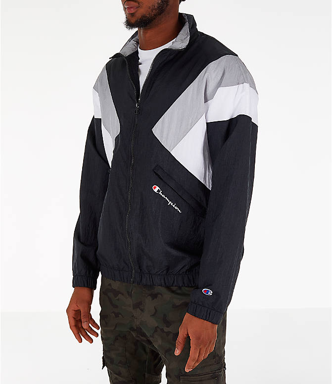 Front Three Quarter view of Men's Champion Nylon Colorblock Track Jacket in Black