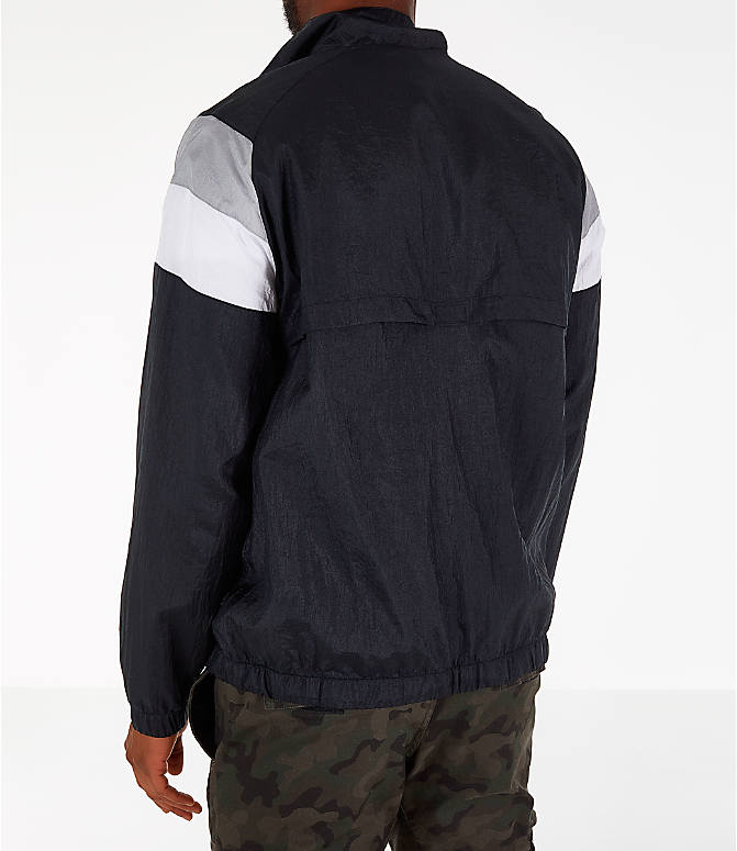 Back Left view of Men's Champion Nylon Colorblock Track Jacket in Black