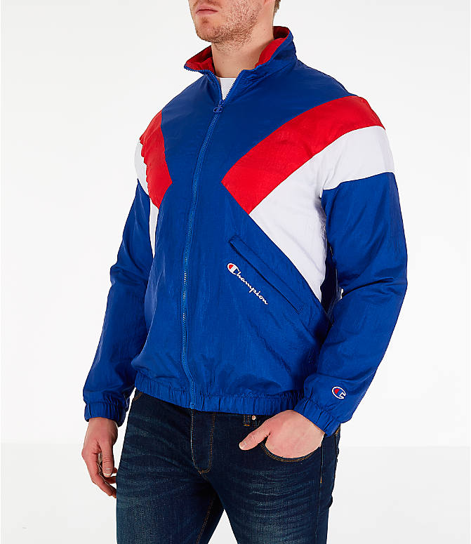 Front Three Quarter view of Men's Champion Nylon Colorblock Track Jacket in Surf the Web