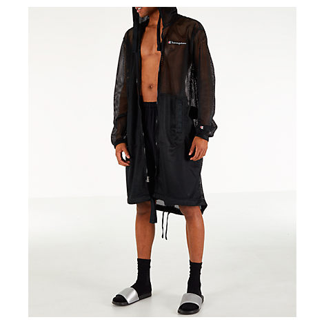 Champion Coats MEN'S CHAMPION MESH HOODED TRENCH COAT, BLACK