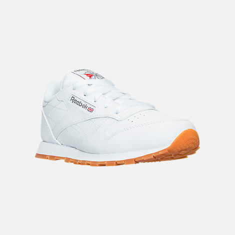 Three Quarter view of Boys' Preschool Reebok Classic Leather Casual Shoes in WHT