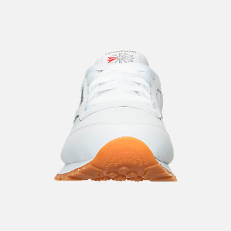 Front view of Boys' Little Kids' Reebok Classic Leather Casual Shoes in WHT