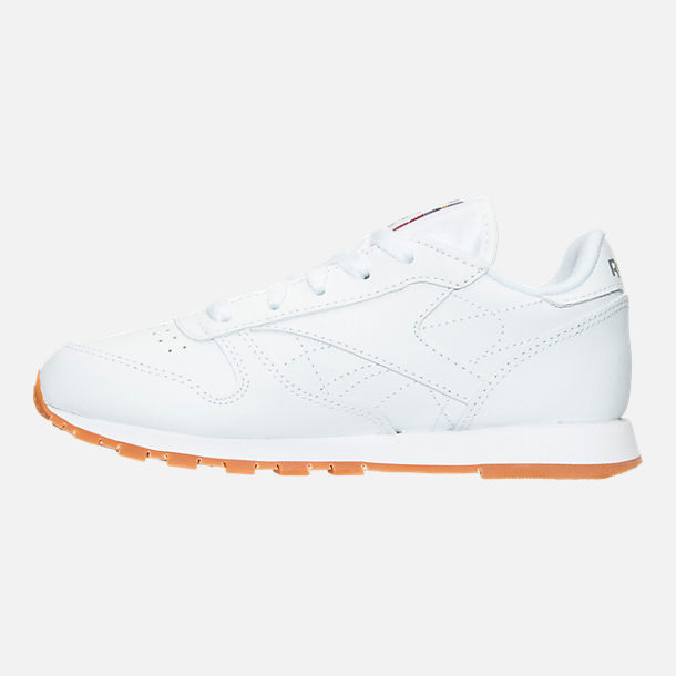 Left view of Boys' Little Kids' Reebok Classic Leather Casual Shoes in WHT