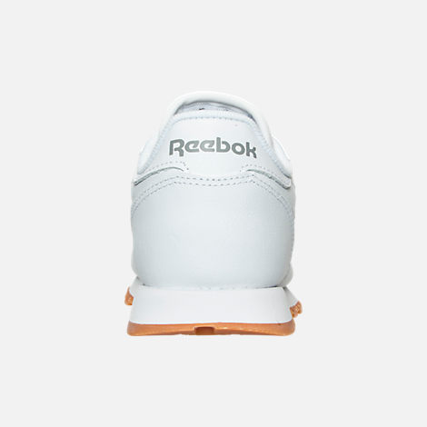 Back view of Boys' Preschool Reebok Classic Leather Casual Shoes in WHT