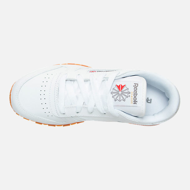 Top view of Boys' Little Kids' Reebok Classic Leather Casual Shoes in WHT