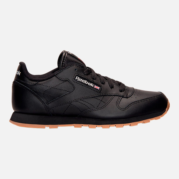 Right view of Kids' Grade School Reebok Classic Leather Casual Shoes in Black/Gum