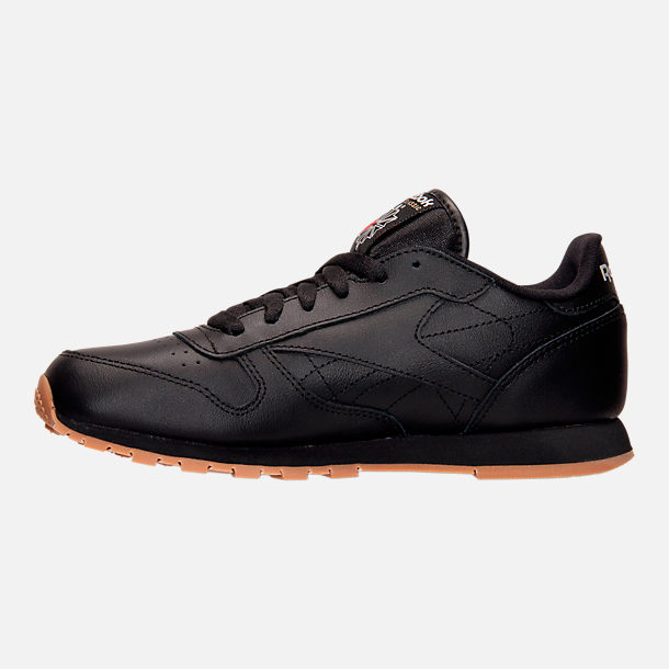 Left view of Kids' Grade School Reebok Classic Leather Casual Shoes in Black/Gum