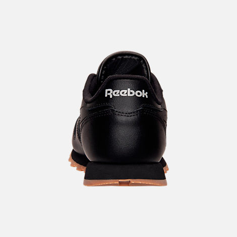 Back view of Kids' Grade School Reebok Classic Leather Casual Shoes in Black/Gum