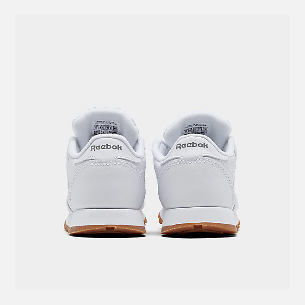 Left view of Kids' Toddler Reebok Classic Leather Casual Shoes in White/Gum