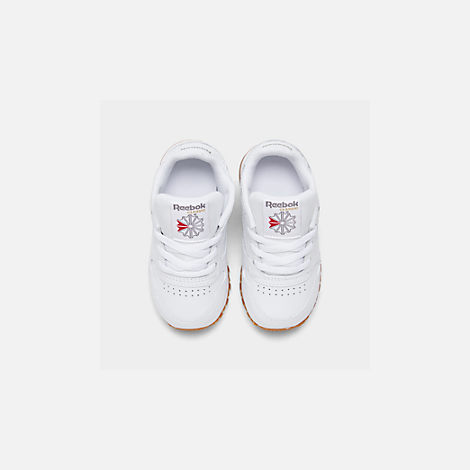 Back view of Kids' Toddler Reebok Classic Leather Casual Shoes in White/Gum