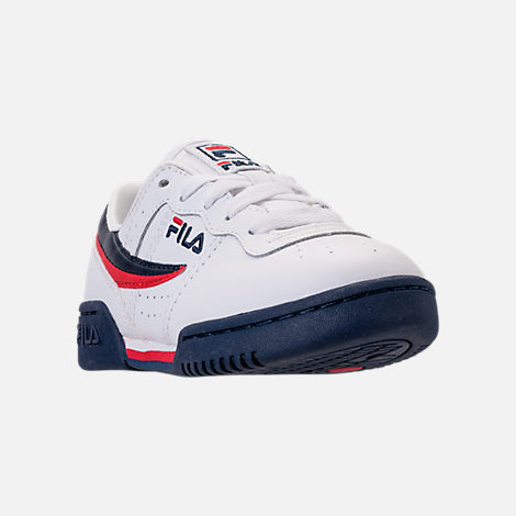 Three Quarter view of Boys' Little Kids' Fila Original Fitness Casual Shoes in White/Navy/Red