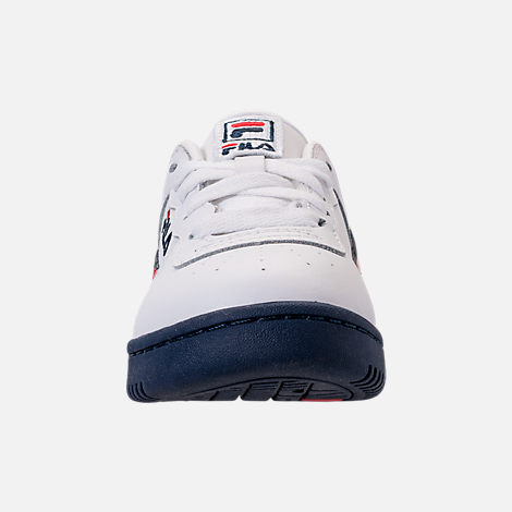 Front view of Boys' Little Kids' Fila Original Fitness Casual Shoes in White/Navy/Red