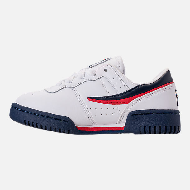 Left view of Boys' Little Kids' Fila Original Fitness Casual Shoes in White/Navy/Red