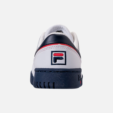 Back view of Boys' Little Kids' Fila Original Fitness Casual Shoes in White/Navy/Red