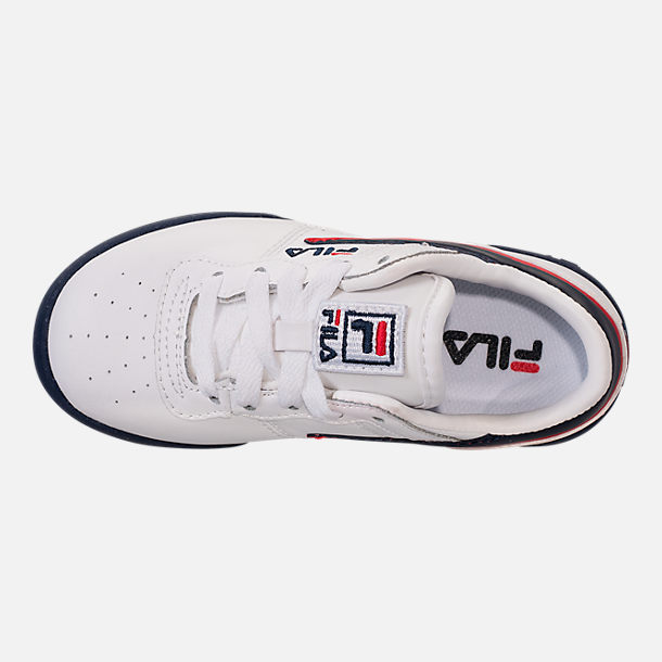 Top view of Boys' Little Kids' Fila Original Fitness Casual Shoes in White/Navy/Red
