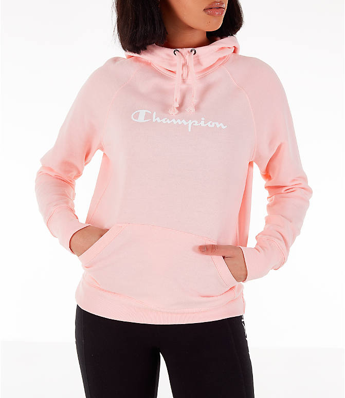 Front view of Women's Champion Powerblend Script Logo Hoodie in Primer Pink