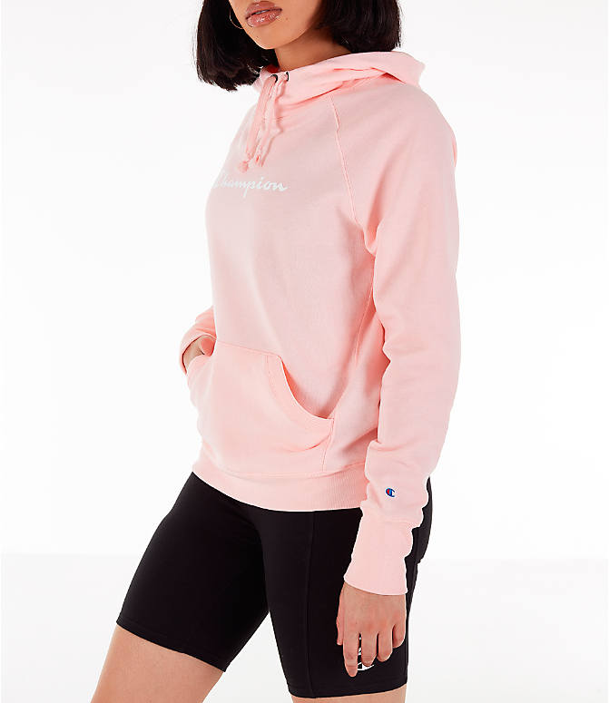 Front Three Quarter view of Women's Champion Powerblend Script Logo Hoodie in Primer Pink